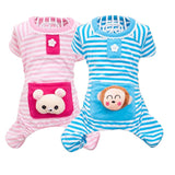 Dog's Pajamas Small Pet Dog Stripes Jumpsuits  Coat Cat Puppy Cozy Clothes Apparel Clothing For Dogs