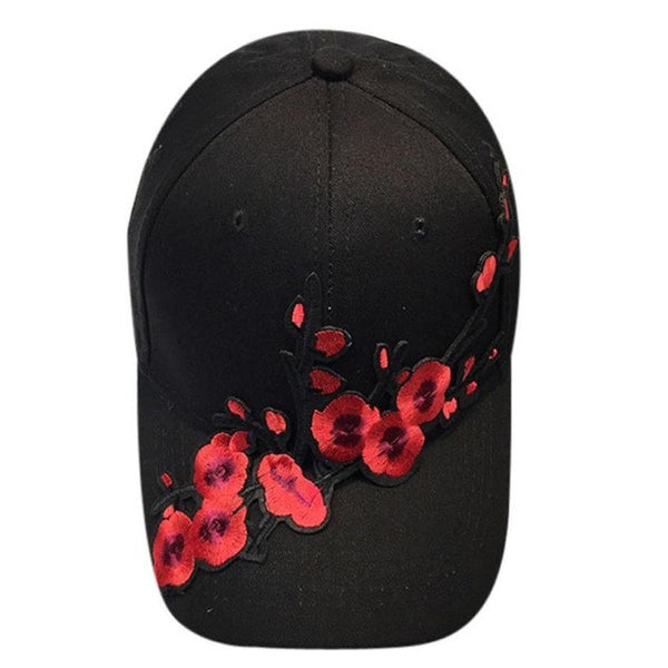 2017 New Plum blossom applique Cap Women Men Couple Plum blossom Baseball Cap Unisex Snapback Hip Hop Flat Hat Casquette