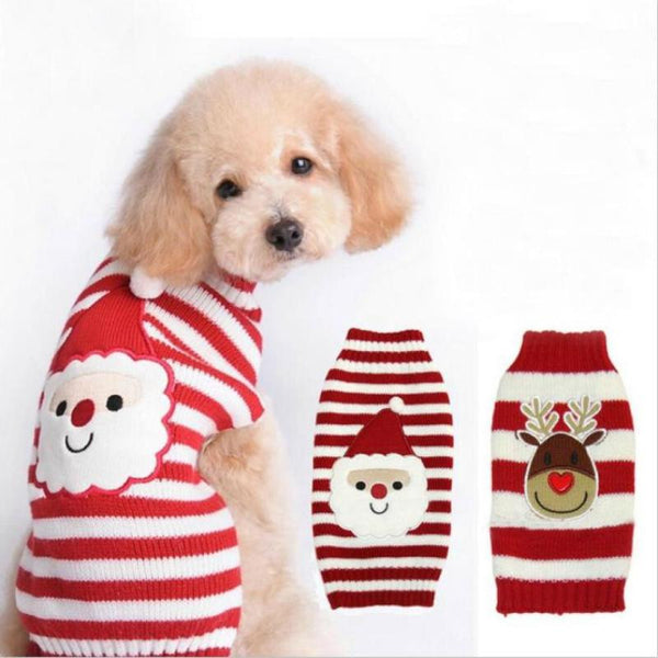 2017 Santa Claus Striped Cartoon Dog Sweater Clothes Winter Warm Reindeer Knit Clothes for Dogs Puppy Xmas Coat Apparel Christmas Sweaters Xmas Knitted Coat  #hhh#
