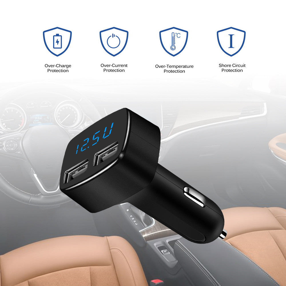 Universal LED Display Dual USB Car Charger Adapter 5V/3.1A Voltage Current Temperature Monitor for Tablet Smart Phone 12-24V