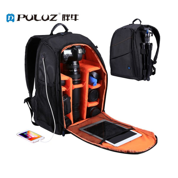 PULUZ Camera Bag Portable Waterproof Scratch-proof Dual Shoulders Backpack with Charging Port for Outdoor Travel