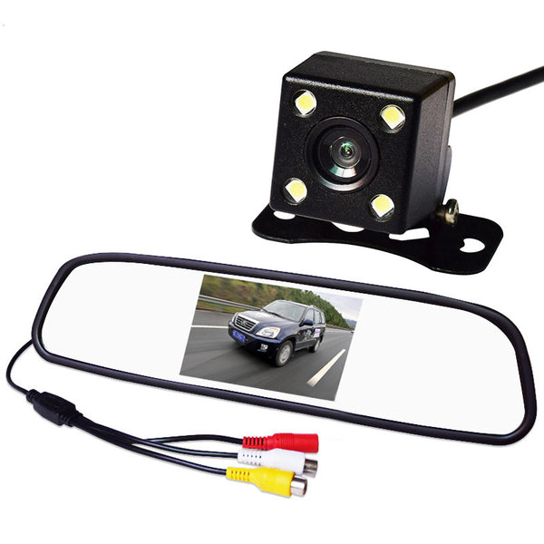 Car Monitor LED Rearview Mirror Video Camera With Assist Night Vision