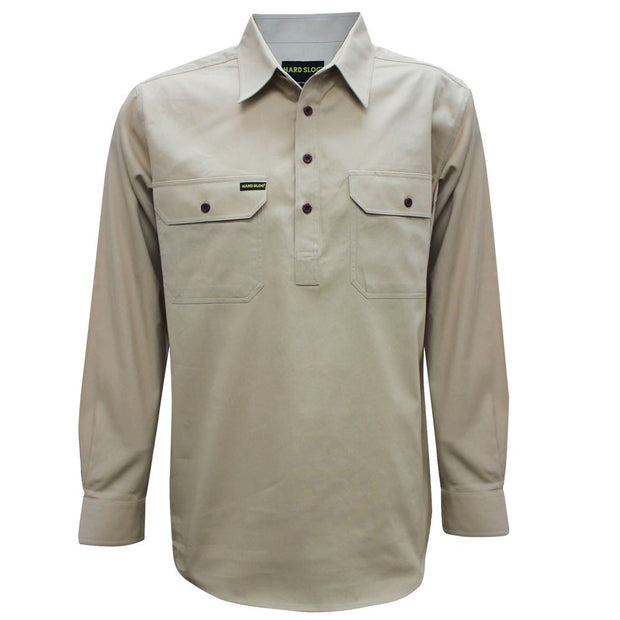 Hardslog Mens Half Placket L/S Shirt