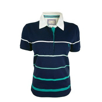 Womens Tammy Stripe S/S Polo- Jade green/ navy