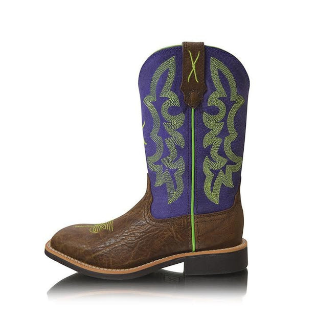 Twisted X Cowkid's Ruff Stock Brown Shoulder/ Purple Boots