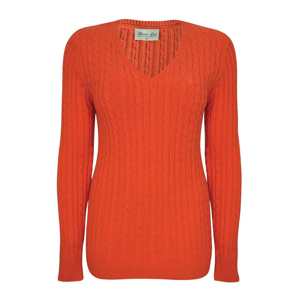Womens V-Neck Cable Jumper