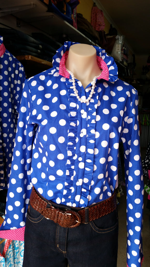 Nettie's Ladies L/S Shirt - Royal spot frills