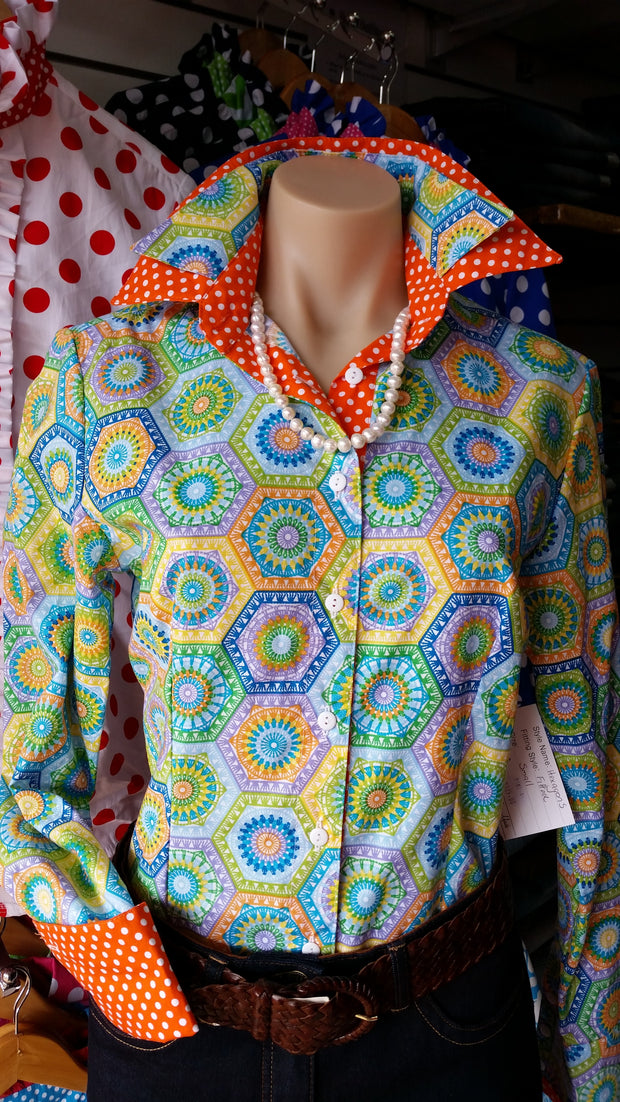 Nettie's Ladies L/S Fitted Shirt - Hexagons