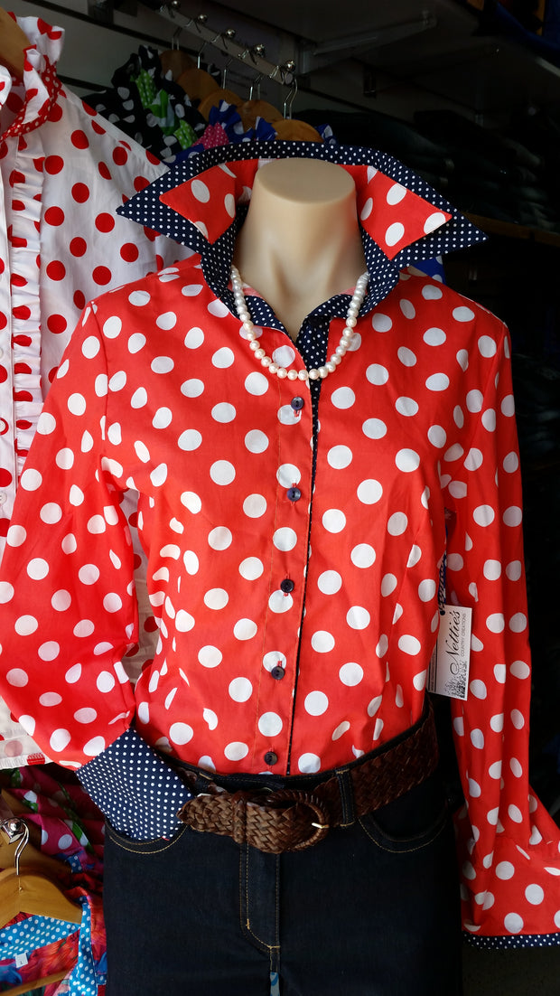 Nettie's Ladies L/S Fitted Shirt - Coral Spot