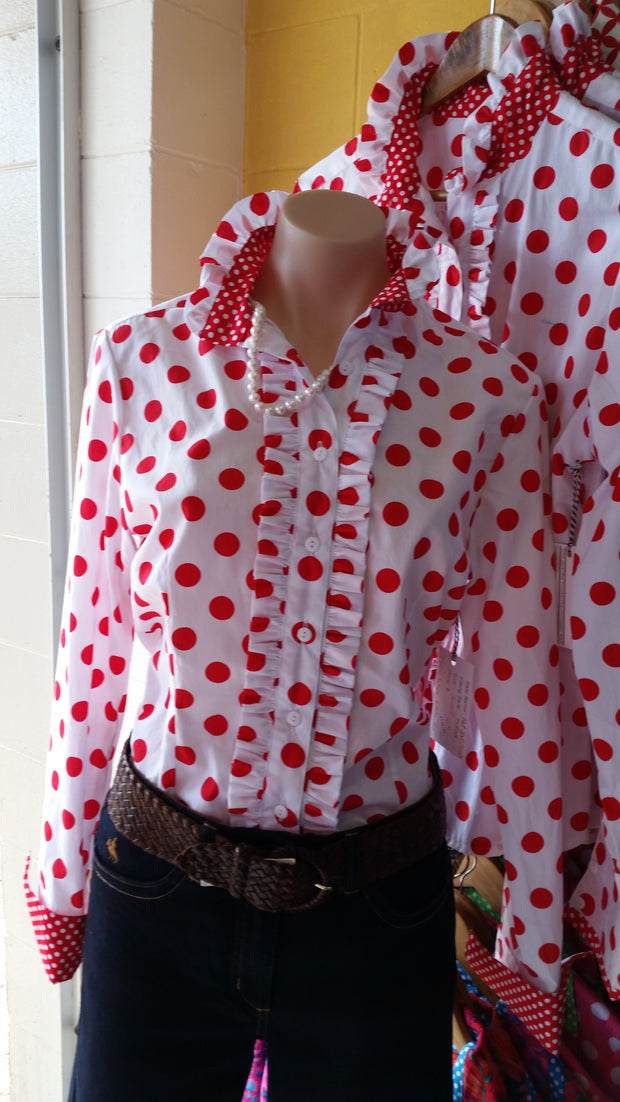 Nettie's Ladies L/S Fitted Shirt - Red Spot Frills