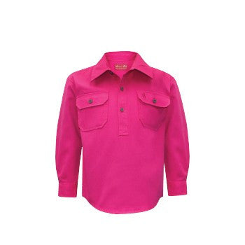 Kids Unisex Heavy Cotton Drill 1/2 Placket 2-Pkt L/S Shirt - Hot Pink