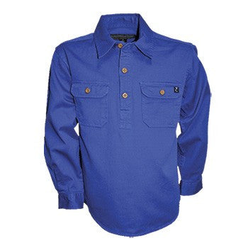 Kids Unisex Heavy Cotton Drill 1/2 Placket 2-Pkt L/S Shirt - Cobalt Blue