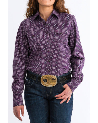 Cinch Ladies Purple Paisley Long Sleeve Shirt