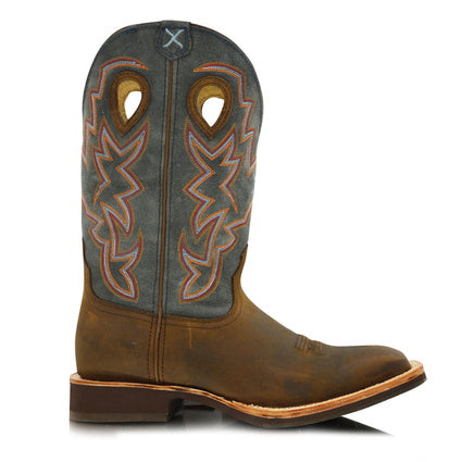 Twisted X Mens Horseman Boots- Distressed Saddle/ Denim