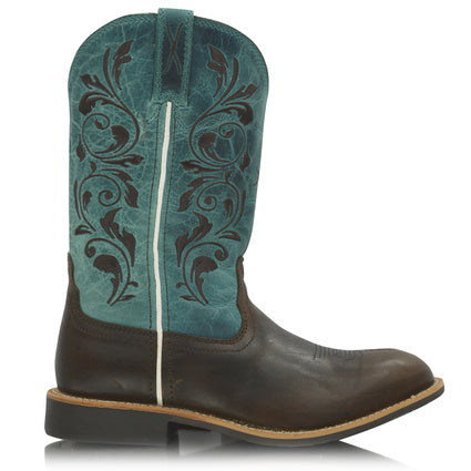 Twisted X Cowkids Top Hand Boot - Chocolate/Turquoise - ON SALE
