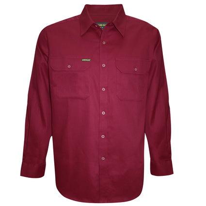 Hardslog Full Placket Light Cotton Red Work Shirt