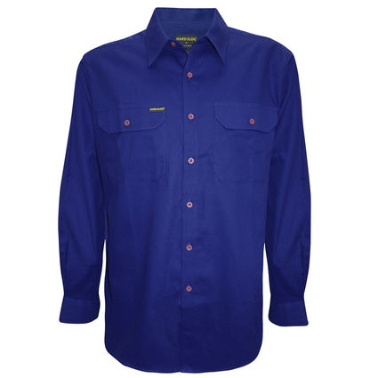 Hardslog Mens Full Placket Light Cotton Royal Blue Work Shirt