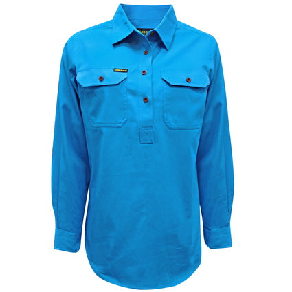 Hard Slog Men's Half Placket L/S Shirt - Bright Blue