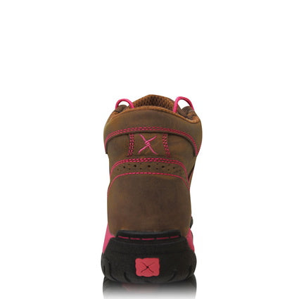 Twisted X Womens Pink Ribbon All Round Lace Up Boots