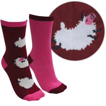 Thomas Cook Farmyard Socks- Twin Pack - Beetroot/Rose Pink (Sheep)