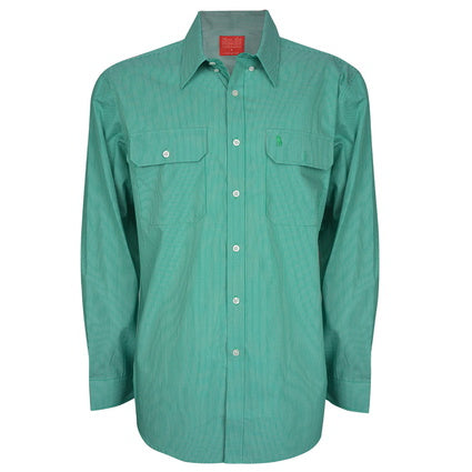 Thomas Cook Mens Grafton Stripe 2pkt L/S Shirt - Sea Green