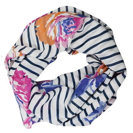 Thomas Cook Womens Voile Print Scarf- Pink/Orange Floral