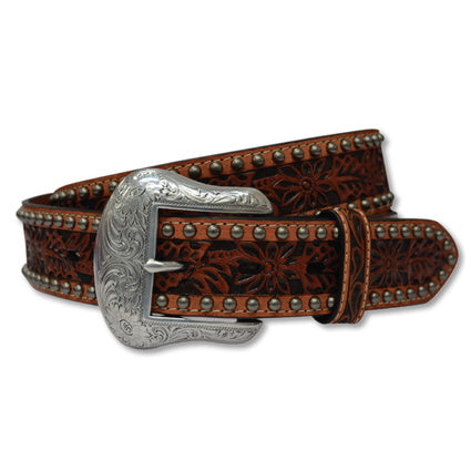 Twisted X Tooled Studded Cognac Belt