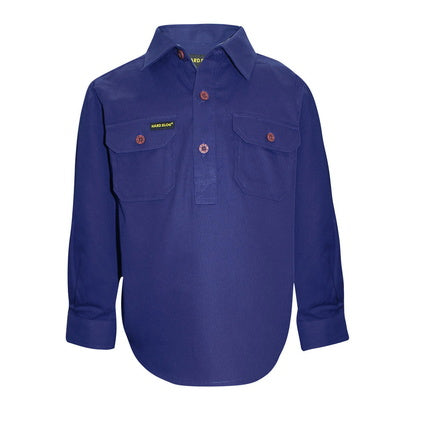 Kids Unisex Hard Slog Half Placket Light Cotton Shirt - Royal Blue