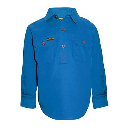 Kids Unisex Hard Slog Half Placket Light Cotton Shirt - Bright Blue