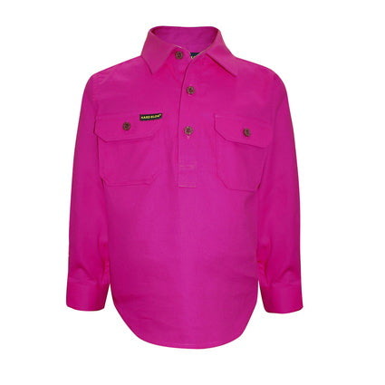 Kids Unisex Hard Slog Light Cotton Half Placket Shirt - Fuschia