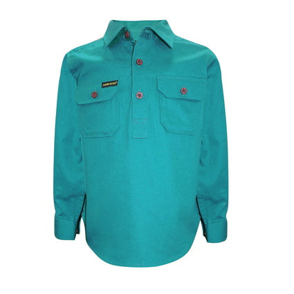 Kids Unisex Hard Slog Half Placket Light Cotton Shirt - Turquoise