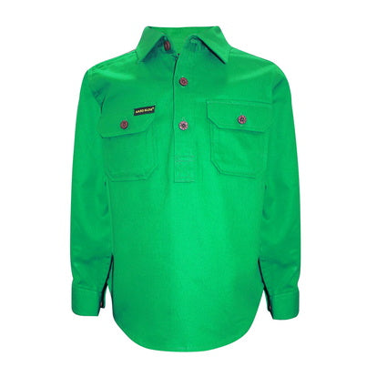 Kids Unisex Hard Slog Half Placket Light Cotton Shirt - Lime Green