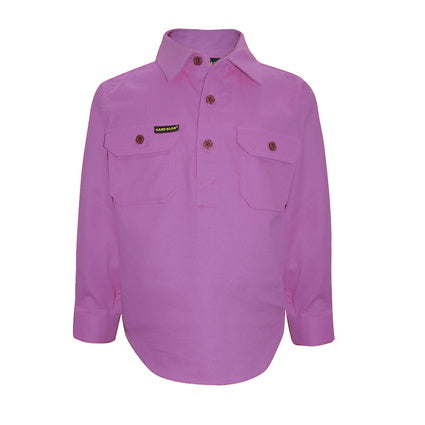 Kids Unisex Hard Slog Half Placket Light Cotton Shirt - Violet