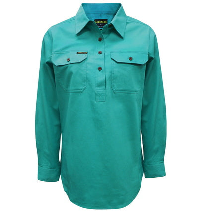 Hard Slog Womens Half Placket Light Cotton Shirt - Turquoise