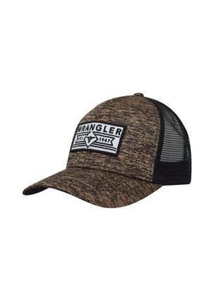 Wrangler Mens Hadley Trucker Cap- Black/ Tan