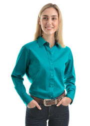 Wrangler Womens Tracey Drill L/S Shirt - Teal