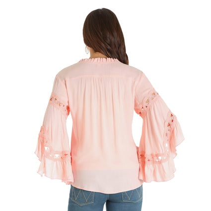 Wrangler Ladies Embroidered L/S PeasantTop