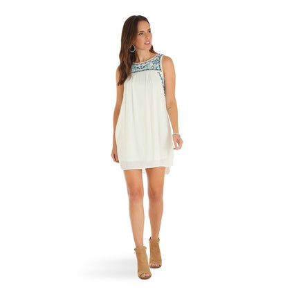 Wrangler Ladies Cream Embroidered Dress