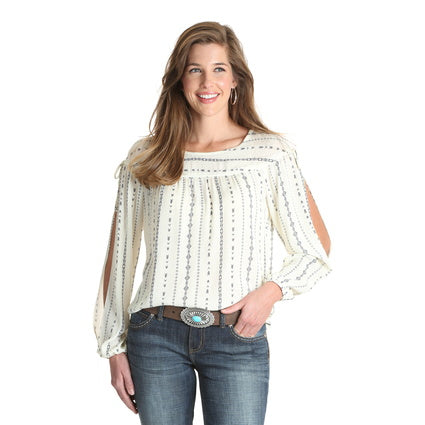 Wrangler Ladies Aztec Print L/S Top
