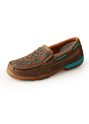 Twisted X Ladies Turquoise Cut Out Slip On Mocs
