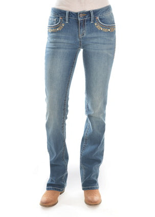 Rock 47 Womens Sits Above Hip Jeans 34 Leg