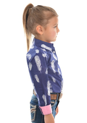 Pure Western Girls Feather Print L/S Shirt