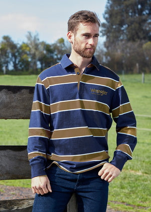 Wrangler Mens Finch Striped Rugby