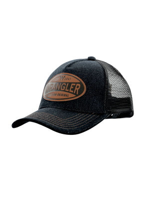 Wrangler Mens Denim Trucker Cap- Black Denim