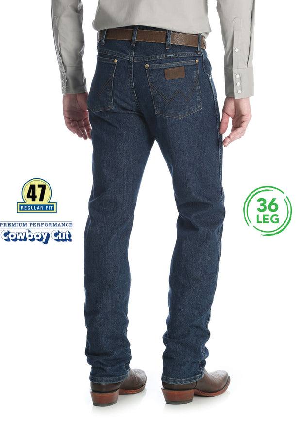 "Wrangler Mens Premium Performance Cowboy Cut CV Regular Fit Jean 36"" Leg."