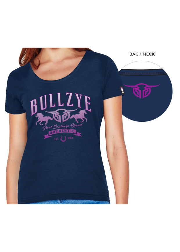 Bullzye Ladies Great Southern Crew Neck Tee - Navy