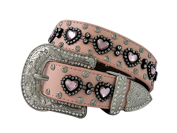 Brigalow Girls Pink Leather Belt With Love Hearts
