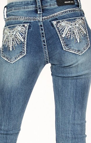 Tribal Embellished Mid Rise Easyfit Bootcut Jeans- Size 26