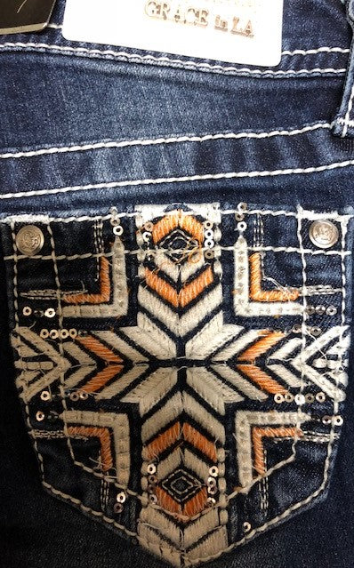 Grace in LA Girls Aztec Cross Jeans - ON SALE