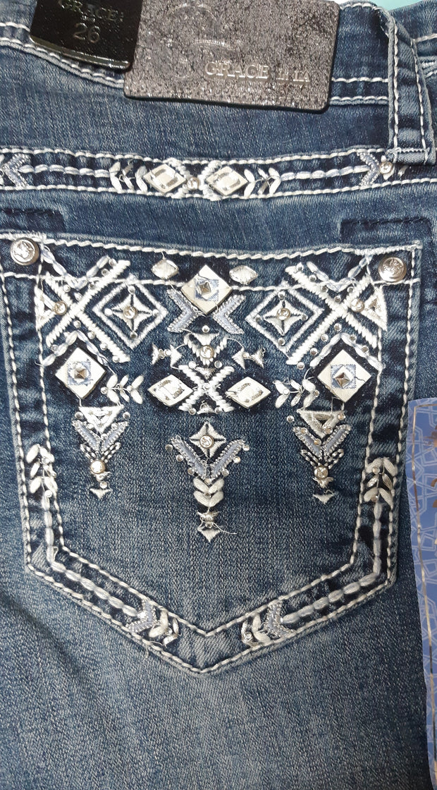 Grace in LA Ladies Easy Fit Bling Jeans - Aztec